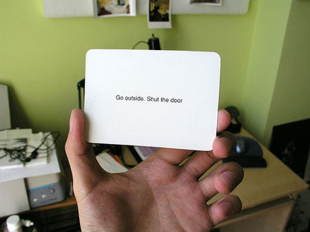 An Oblique Strategies Card